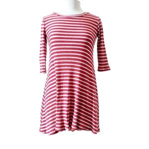 Living Dolls Ribbed Knit Red & White Striped Dress